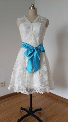 V-neck Backless Short Ivory Lace Wedding Dress with Teal Blue Sash