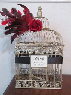 Glam Birdcage Wedding Card Box Holder / Bird Cage Wedding Card Holder / Black and Red / Feathers / Vintage Style / Art Deco on Etsy, $80.00
