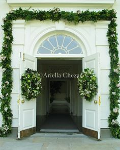 white and green garland