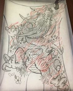 Japanese Dragon Tattoos, Japanese Tattoo Designs, Japanese Tattoo Art, Dragon Fish, Dragon Art, Tatoo Art, Tattoo Life, Asian Tattoos, Japan Tattoo