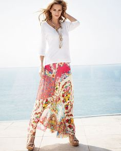 JWLA for Johnny Was 3/4-Sleeve V-Neck Tee & Georgette Mixed Floral-Print Maxi Skirt, Women's - Neiman Marcus