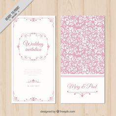Invitación de boda floral rosa Vector Gratis