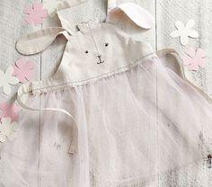 baby  funny  cute  Klezmer .Linen Bunny Apron