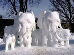 ♥Elephant family snow sculptures, so sweet! Elephant Family, Elephant Love, Elephant Art, Elephant Crafts, Elephant Sculpture, Snow Sculptures, Art Sculpture, Metal Sculptures, Abstract Sculpture
