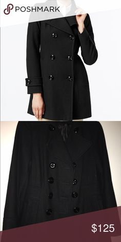 "Black Peacoat Double-breasted button closures in front with notched collar. Wool shell, polyester lining. Slit pockets at hips. Hits at low hip; approx. 33"" long. Anne Klein Jackets & Coats Pea Coats"