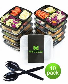 Microwavable Reusable Dishwasher & Freezer Safe Healthy Meal Prep 3 Compartment Food Storage Containers and Cutlery Pack of 10 Only 9 In Stock Order Today! Product Description: BONUS: EACH ORDER COMES