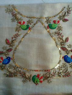 sequins and birds! Saree Blouse Neck Designs, Dress Neck Designs, Fancy Blouse Designs, Bridal Blouse Designs, Hand Work Embroidery, Hand Embroidery Designs, Beaded Embroidery, Zardosi Embroidery, Embroidery Suits