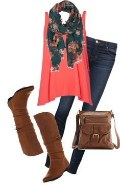 """""""Green Scarf"""" by karrina-renee-krueger on Polyvore  All I got to do is add a cardigan and skirt!"""