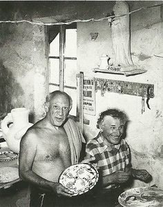 Picasso y Chagall en el taller de cerámica Madoura, Vallauris 1952