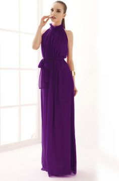 Purple Stand Collar Pleated Chiffon Dress - Sheinside.com