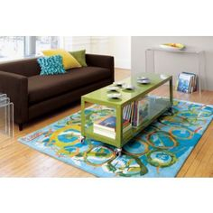 """go-cart camo two-shelf table-media cart; $159; (60""""W x 18""""D x 20""""H) Park it under 55"""" TV (house sub, provide horizontal surface) in Great Room (long, simple, little visual weight) or Playroom (use as toy storage/table for projects/snacks; casters would really be beneficial in playroom/guest room)"""