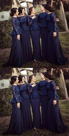 Long sleeve navy bridesmaid dresses, lace bridesmaid dresses, Custom bridesmaid dress, mermaid bridesmaid from Focusdress Navy Lace Bridesmaid Dress, Affordable Bridesmaid Dresses, Navy Bridesmaid Dresses, Prom Dresses, Blue Bridesmaids, Bride Dresses, Wedding Dresses, Wedding Shit, Wedding Ideas