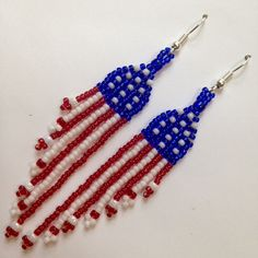 Beaded Flag Earrings🔹🔹💥FLAGS OF THE WORLD : More Pins Like This At FOSTERGINGER @ Pinterest 💥🔹🔹