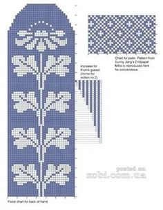 "Photo from album ""Pirstines"" on Yandex. Knitted Mittens Pattern, Fair Isle Knitting Patterns, Bead Loom Patterns, Knit Mittens, Knitting Charts, Knitting Stitches, Knitting Socks, Tapestry Crochet, Crochet Chart"