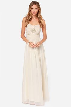 Stay Golden Strapless Light Beige Sequin Maxi Dress, makes me wish I had a formal event