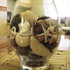 seashells in a glass