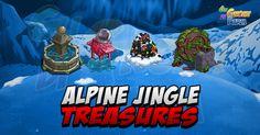 Alpine Jingle: Treasures  Immancabili iTreasures da aprireCome sempre4 misure: Small Medium Large ed Extra Large  Almeno per quanto riguarda laspetto ci sono tipi di Treasures differenti per ciascun tipo diterreno disponibile nella Alpine: Land (Terra) Water (Acqua) Snow (Neve) e Ice (Ghiaccio)!  Per fortuna i materiali sono gli stessi indipendentemente dal terreno su cui sono situati i Treasures quindi avremo:  Small:  Ruined Fountain (Small) -> 10Snow Shovel  Ruined Fountain in Water…