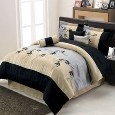 Luxury Bed Linens Queen King Comforter Set Royal Hotel Collection 7 Pieces