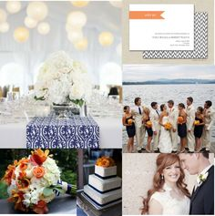 navy/coral-peach-orangish/taupe wedding colors :  wedding colors coral navy peach taupe Inspiration