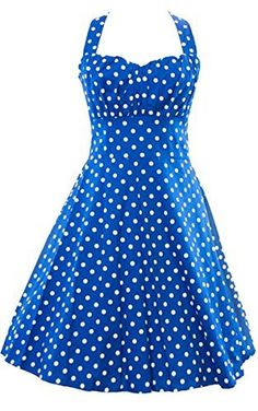 ACEVOG Vintage 1950s Floral Spring Garden Party Picnic Dress Party Cocktail Dress XL Polka Blue ** You can find out more details at the link of the image.