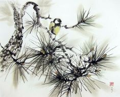 Japanese Ink Painting Ink art Asian art Sumi-e Suibokuga Flower and Birds painting inch Tomtit on a pine branch - Art Corner Japanese Ink Painting, Japanese Watercolor, Japan Painting, Japanese Drawings, Chinese Painting, Chinese Art, Japanese Art, Japanese Rice, Chinese Brush
