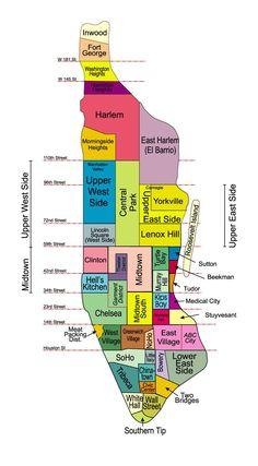 map of neighborhoods in manhattan | NYC Neighborhood Maps | BALD PUNK