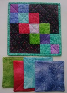 COASTERS 4 MUG MAT Beautiful Array of Colors All Reversible 100% Cotton Handmade by QuiltingbyDiamanti on Etsy
