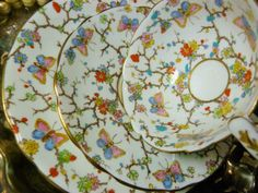 ROYAL-STAFFORD-TEA-CUP-AND-SAUCER-TRIO-STUNNING-HP-FLORAL-CHINTZ-BUTTERFLY