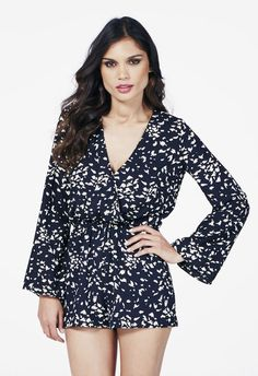 Go all out for summer in a bell sleeve romper that's got that hippie flair to it. With bell sleeves that are super hip and a fun print throughout, you'll look effortlessly chic this season!...
