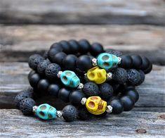 Cool Skull Beaded Bracelets / Skull Bead Bracelets / by BeadRustic, $22.00