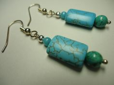 Dangle Earrings, Blue Tube Turquoise, Woman's Jewelry by Shabyas on Etsy