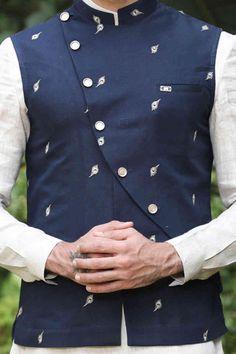 Modish Printed Blue and White Kurta Jacket Set - Manyavar Indian Wedding Suits Men, Wedding Kurta For Men, Indian Groom Wear, Wedding Dress Men, Indian Wedding Outfits, Mens Kurta Designs, Blouse Designs, Indian Men Fashion, Mens Fashion