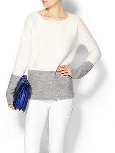 Dakota Collective Roza Colorblock Sweater; like the soft grey and white color comb