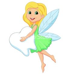 Cartoon a cute tooth fairy flying with tooth vector on VectorStock