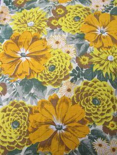 Original 1950's Vintage Sunflower Barkcloth Fabric / Curtain | eBay