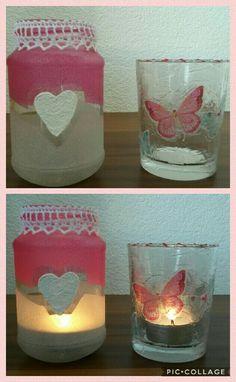links: Glas mit Deco Frost und Relief Paste rechts: Glas mit Struktur Gel und Serviette