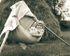 Baby waiting in a makeshift field crib while the mother is working Folklore, Crib, Waiting, The Past, Singer, World, Baby, Pictures, Crib Bedding