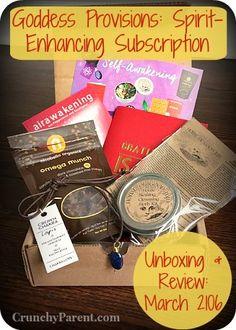 Crunchy Parent-Peek inside the March 2016 Goddess Provisions vegan lifestyle subscription box. Aromatherapy, blessing kit, gratitude journal, jewelry, & gluten free organic snacks.