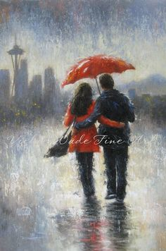 Seattle Lovers in the Rain Art Print, Seattle rain, love, rain, couple, romance, red umbrella, space needle, home decor, Vickie Wade art