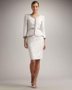 Tahari Silver Trimmed Skirt suit