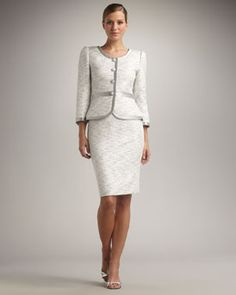 Tahari Silver Trimmed Skirt suit