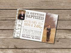 Baptism Announcement / Invitation Customizable at Etsy.com/shop/DubDubDesigns