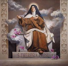 Pintura de Santa Teresa de los Andes Ste Therese, Found Art, Jesus Pictures, Catholic Saints, Guardian Angels, Religious Art, Christianity, Aurora Sleeping Beauty, Artwork