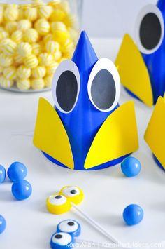 Finding Dory birthday party ideas: Dory hats from Kara's Party Ideas