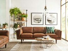 Modern setting for brown leather couch - Coffee Table DIY. Modern setting for brown leather couch - Coffee Table DIY. To view further for this article, visit the image link. Mid Century Modern Living Room, Mid Century Modern Decor, Living Room Modern, Midcentury Modern, Living Room Designs, Mid Century Couch, Living Room Artwork, Earthy Living Room, Mid Century Bookshelf