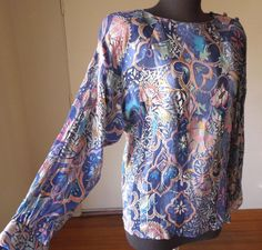 Vintage 80's Shirt, by VALENTINO, Sheer Hand Painted Silk,  Boho Festival Gypsy Style, Lavender Blue with Metallic Silver, Size Small. $69.00, via Etsy.