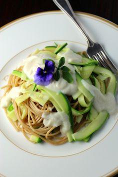 Pasta with Zucchini and Roasted Garlic Cauliflower Gravy