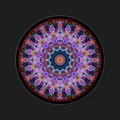 Purple Lotus kaleidoscope Round Stickers