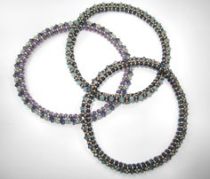 FREE video Project: Festival of Lights Bangle (twin or super duos + bicone crystals + seed beads)