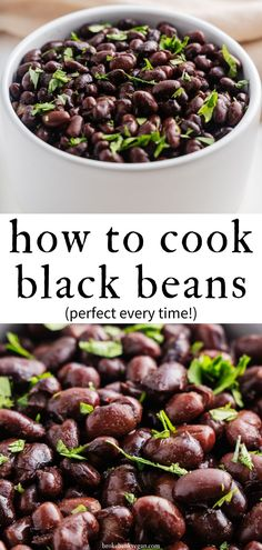 If you're looking for the perfect way to cook black beans, you'll find what you need here. We cover methods for both electric and stovetop pressure cookers and good ol' fashioned pots. Prepare to be amazed at how creamy and delicious home-cooked beans can be! #blackbeans #pressurecookerblackbeans #pressurecooker #howtocookblackbeans Vegan Dinner Recipes, Delicious Vegan Recipes, Vegan Dinners, Vegetarian Recipes, Healthy Recipes, Bean Recipes, Cooking Black Beans, Healthy Side Dishes, Side Dish Recipes